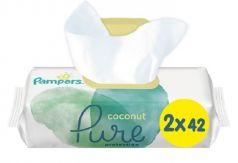 Детские влажные салфетки Pampers Pure Protection Coconut, 2х42шт.