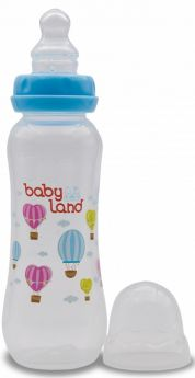 Бутылочка для кормления BabyLand ортодонтическая с узким горлышком и силиконовой соской (в ассорт.), 240мл