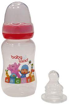 Бутылочка для кормления BabyLand ортодонтическая с узким горлышком и силиконовой соской (в ассорт.), 150мл