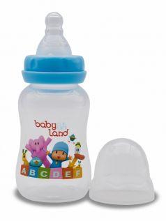 Бутылочка для кормления BabyLand с силиконовой соской в блистере (в ассорт.), 150мл