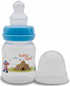 Бутылочка для кормления BabyLand ортодонтическая с узким горлышком и силиконовой соской (в ассорт.), 80мл