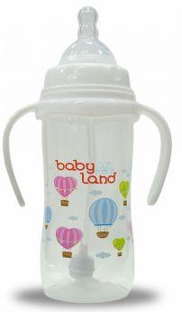 Бутылочка для кормления с ручками BabyLand с широким горлышком, 300мл