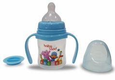 Бутылочка для кормления с ручками BabyLand с широким горлышком и силиконовой соской (в ассорт.), 150мл