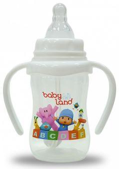 Бутылочка для кормления с ручками BabyLand с узким горлышком, 150мл