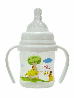 Бутылочка для кормления с ручками BabyLand с широким горлышком, 150мл