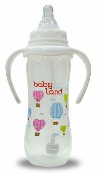 Бутылочка для кормления с ручками BabyLand с узким горлышком, 240мл