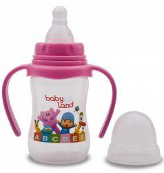 Бутылочка для кормления с ручками BabyLand с узким горлышком и силиконовой соской (в ассорт.), 150мл