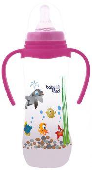 Бутылочка для кормления с ручками BabyLand с узким горлышком и силиконовой соской (в ассорт.), 240мл