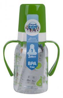 Бутылочка Canpol тритановая с ручками, с сил. соской, зеленая, 120мл