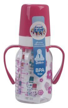 Бутылочка Canpol тритановая с ручками, с сил. соской, розовая, 120мл