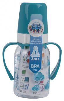 Бутылочка Canpol тритановая с ручками, с сил. соской, бирюзовая, 120мл