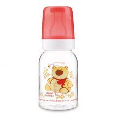 Бутылочка тритановая Canpol babies Cheerful animals с сил. соской, красная, 120мл