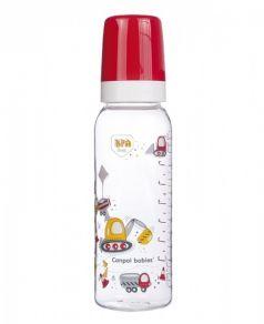 Бутылочка Canpol babies Machines с силиконовой соской, красная, 250мл