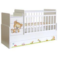 """Кровать-трансформер детская """"Фея"""" 1100 Медвежонок, белая"""