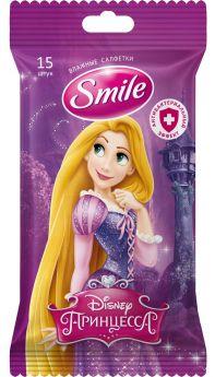Детские влажные салфетки Smile Disney Princess антибактериальные (в ассорт.), 15шт.