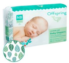 "Подгузники Offspring ""Листочки"" NB, 2-4кг, 56шт."