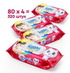 Детские влажные салфетки KIOKI, 4х80шт
