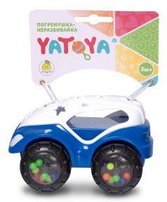 """Погремушка-неразбивайка YATOYA """"Машинка"""", бело-синяя"""