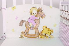 """Бампер для кроватки Топотушки """"Лошадка"""", 360х30см, розовый"""