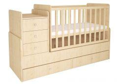 Кроватка-трансформер Polini kids Simple 1100, натуральная