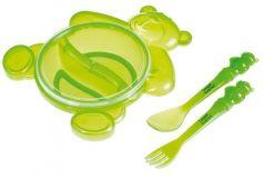 Тарелка с ложкой и вилкой Canpol babies, зеленая