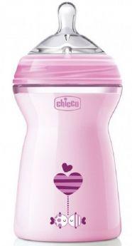 Бутылочка Chicco Natural Feeling с силиконовой соской, 6мес.+, 330мл, розовая