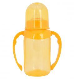 Бутылочка ПоМа с ручками, соска силикон. средний поток, оранжевая, 125мл