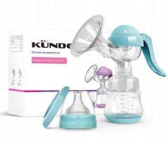 Набор Kunder: ручной молокоотсос, соска и голубая бутылочка, 150мл, голубой