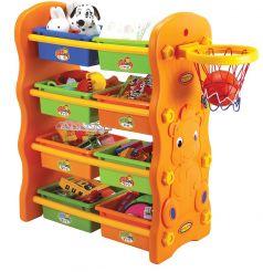 Стеллаж для игрушек EDU-PLAY 3в1 с ящиками+баскетбольное кольцо, 84х43х106см