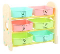Стеллаж для игрушек EDU-PLAY 3в1 с ящиками, 76х36х65,5см, цветной