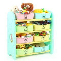 Стеллаж для игрушек EDU-PLAY с ящиками, 4 полки, 76х36х80,5см, ментоловый