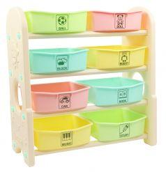 Стеллаж для игрушек EDU-PLAY с ящиками, 4 полки, 76,5х36х80,5см, цветной