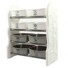 Стеллаж для игрушек EDU-PLAY с ящиками, 4 полки, 76,5х36х91см, серый