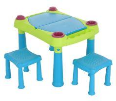 Стол KETER Creative для детского творчества и игры с водой и песком+2 табуретки, 79х56х50см