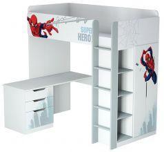 """Кровать-чердак Polini kids Marvel 4355 """"Человек-паук"""" с письменным столом и шкафом, белый"""