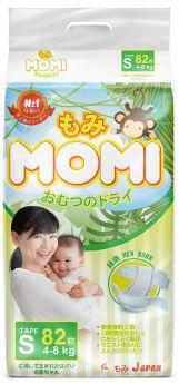 Японские подгузники Momi Monkey Megabox S (4-8кг), 82*2шт.