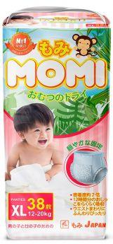 Японские трусики-подгузники Momi Monkey Megabox XL (12-20кг), 38*2шт.