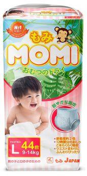 Японские трусики-подгузники Momi Monkey Megabox L (9-14кг), 44*2шт.
