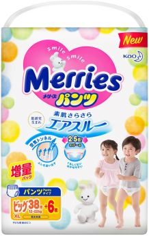 Трусики-подгузники Merries XL (12-22кг) 38+6шт.