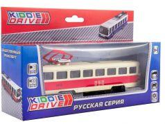 Общественный транспорт троллейбус KiddieDrive инерционный, свет, звук, красный, 17см