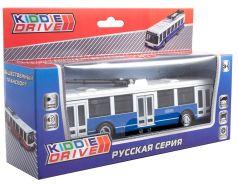 Общественный транспорт трамвай KiddieDrive инерционный, свет, звук, синий, 17см