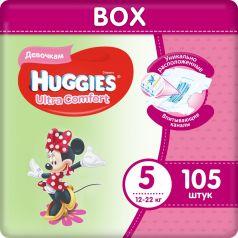Подгузники Huggies Ultra Comfort 5 для девочек 12-22кг, 105шт.