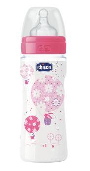 Бутылочка Chicco WellBeing, соска силикон быстрый поток, 330мл