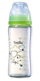 Бутылочка с широким горлышком BabyOno стеклянная, 260мл