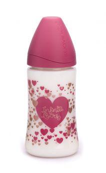 Бутылочка Suavinex Infinite Love анатомическая силиконовая соска слабый поток, 150мл, 0+