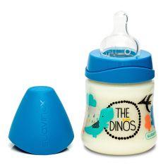 Бутылочка Suavinex Dino классическая силиконовая соска переменный поток, 150мл, 0+