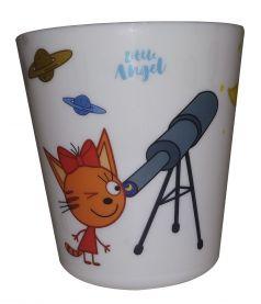 """Детский стакан Little Angel """"Три кота"""" Космическое путешествие, 270мл"""