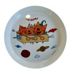 """Детская тарелка Little Angel """"Три кота"""" Космическое путешествие, 450мл"""