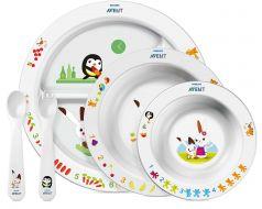 Набор посуды Philips Avent SCF716/00: три тарелочки, ложка и вилка
